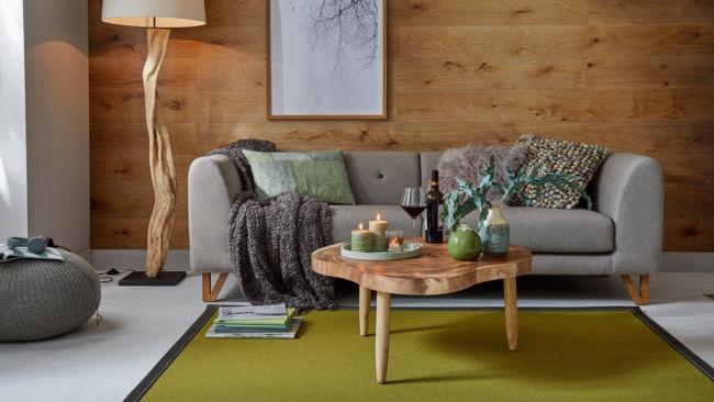 Tretford Ziegenhaarteppich grün