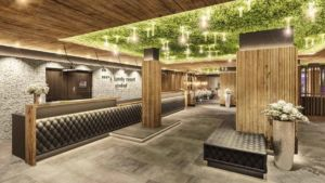 Wandverkleidung Mooswand aus Ballenmoos Apfelgruen Hotel Almonti Lobby WorkProjects Visual