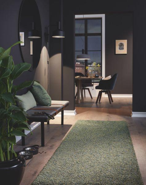 Ein grüner Hochflorteppich bekleidet den Eingangsbereich einer dunkel eingerichteten Wohnung.